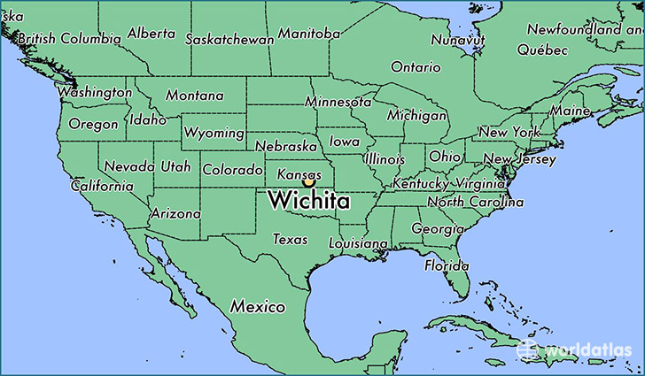 map showing the location of Wichita