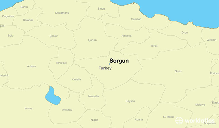 map showing the location of Sorgun