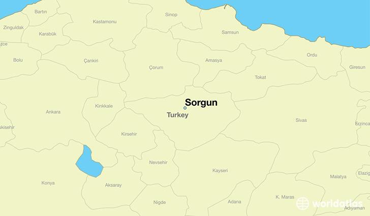 Where is Sorgun Turkey Sorgun Yozgat Map WorldAtlascom