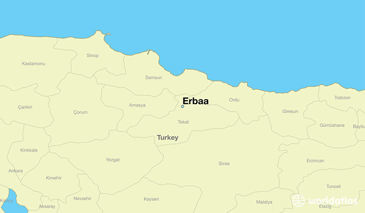 map showing the location of Erbaa
