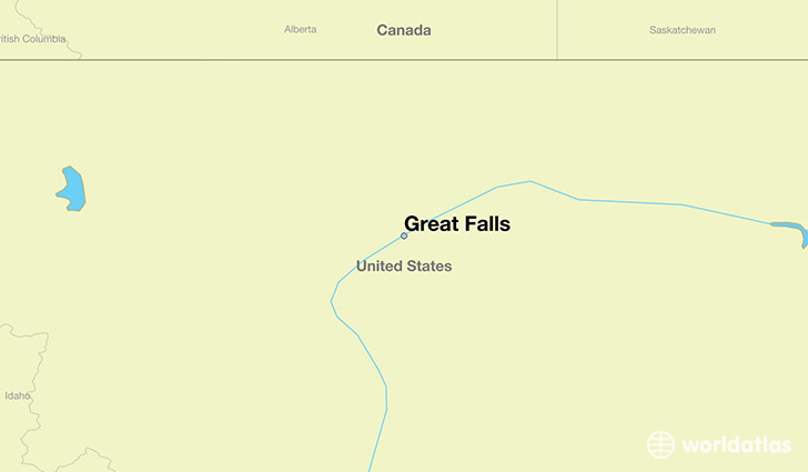 map showing the location of Great Falls