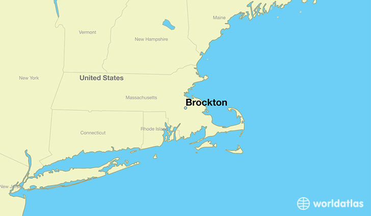 map showing the location of Brockton