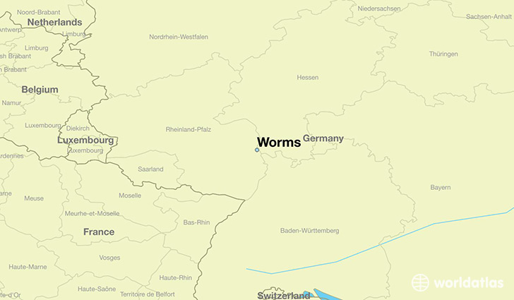 map showing the location of Worms