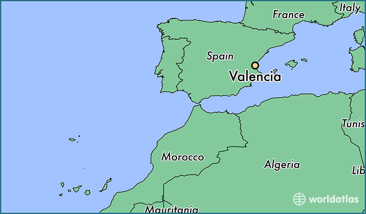 map showing the location of Valencia