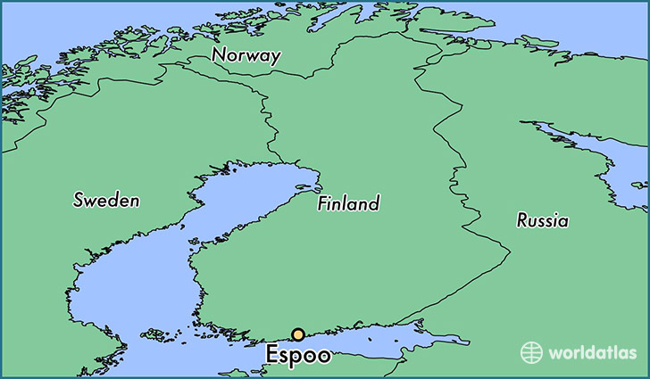 map showing the location of Espoo