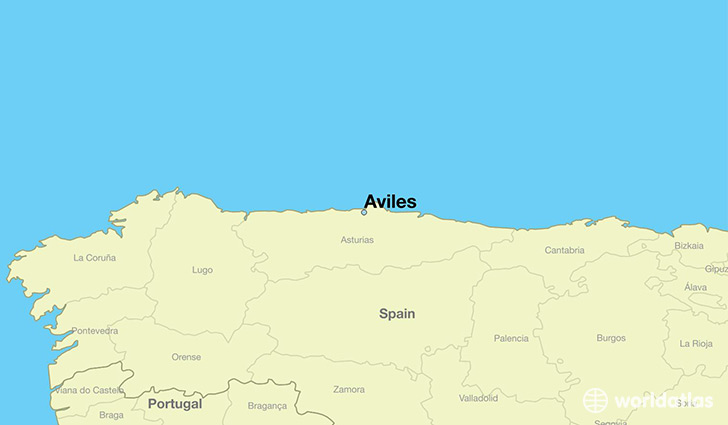 map showing the location of Aviles