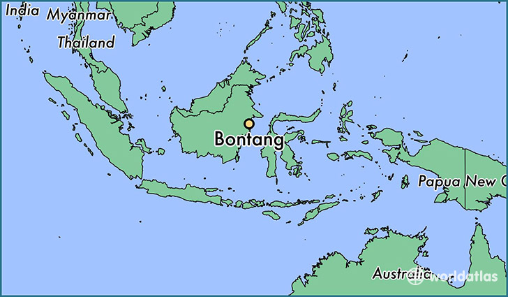 map showing the location of Bontang