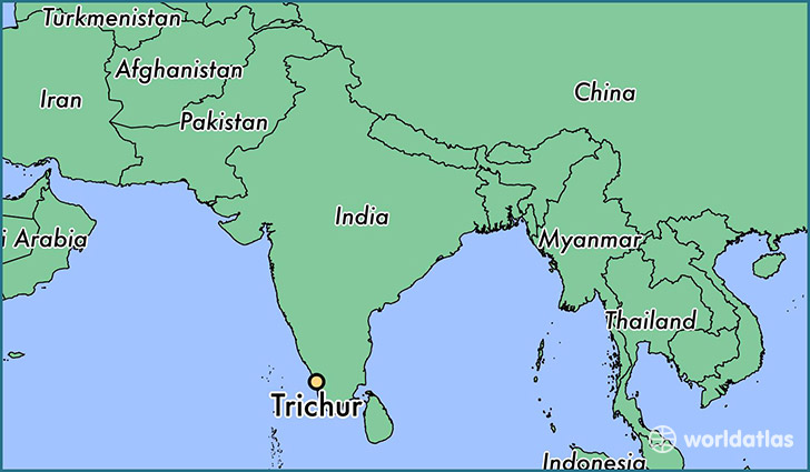map showing the location of Trichur