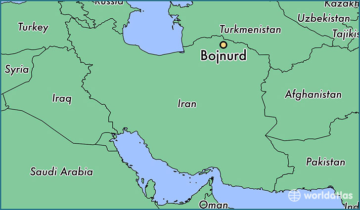 map showing the location of Bojnurd