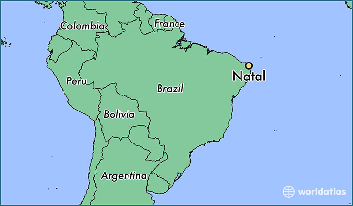 map showing the location of Natal