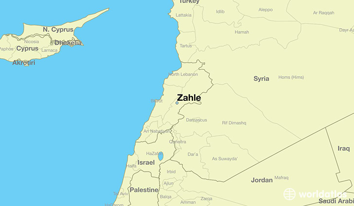 map showing the location of Zahle