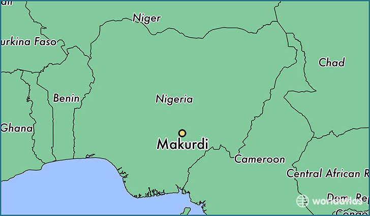 map showing the location of Makurdi
