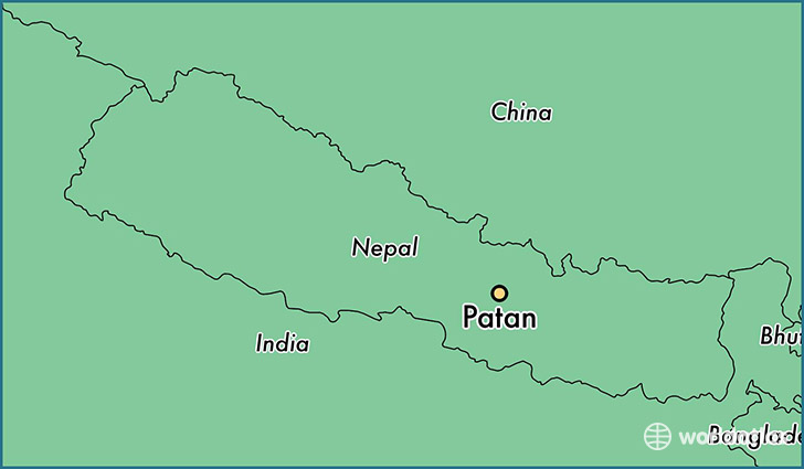 map showing the location of Patan