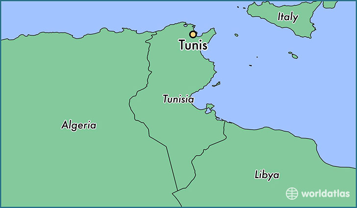 map showing the location of Tunis