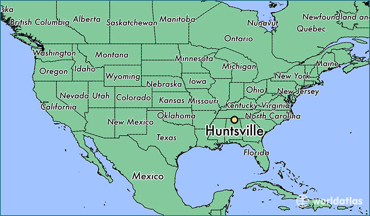 map showing the location of Huntsville