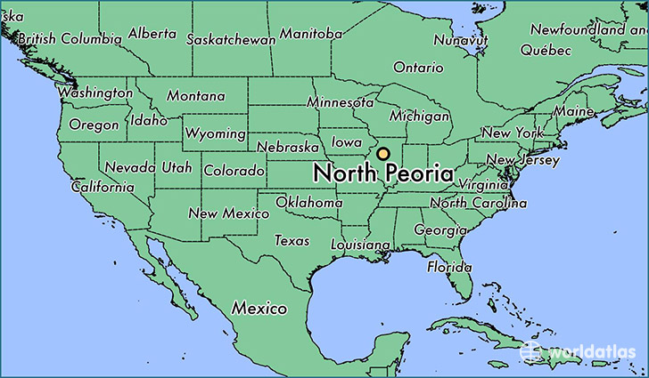 map showing the location of North Peoria