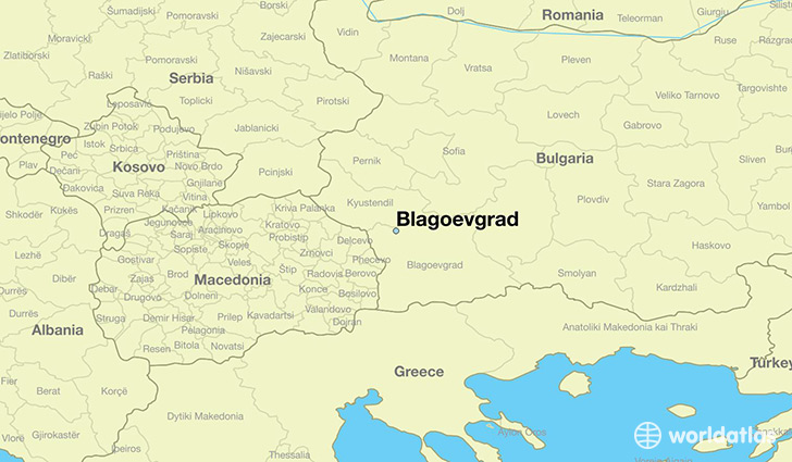 map showing the location of Blagoevgrad