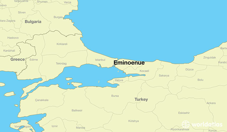 map showing the location of Eminoenue
