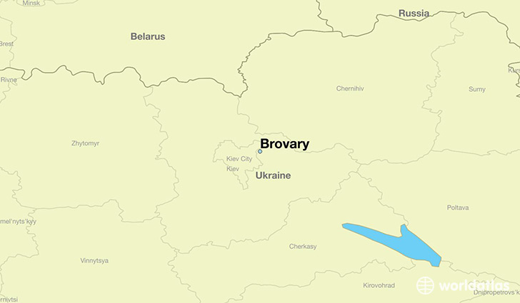 map showing the location of Brovary