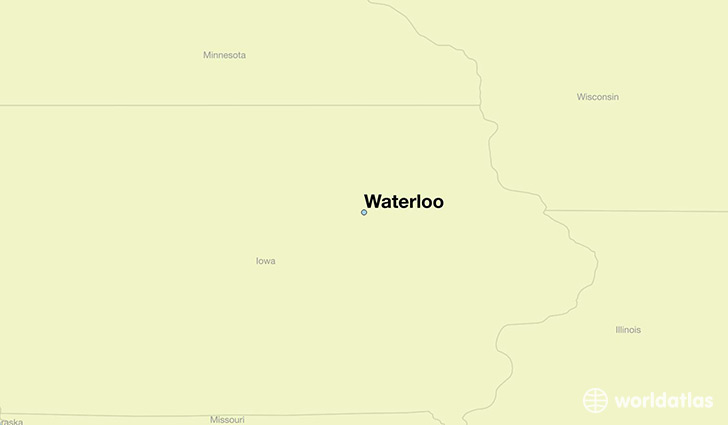 map showing the location of Waterloo