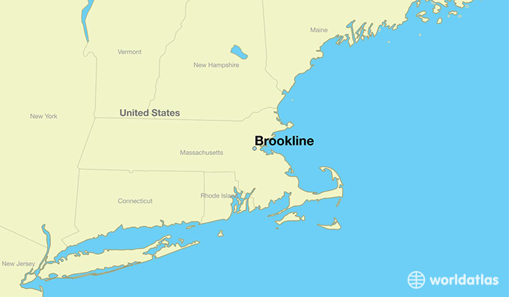 map showing the location of Brookline