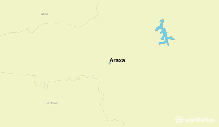 map showing the location of Araxa