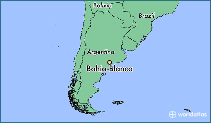 map showing the location of Bahia Blanca