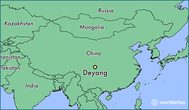 map showing the location of Deyang