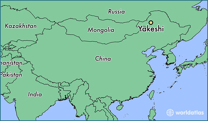 map showing the location of Yakeshi