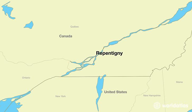 map showing the location of Repentigny
