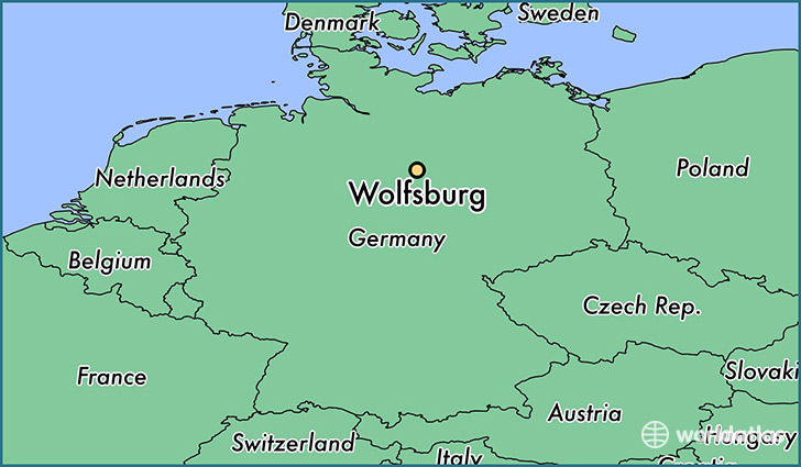 map showing the location of Wolfsburg