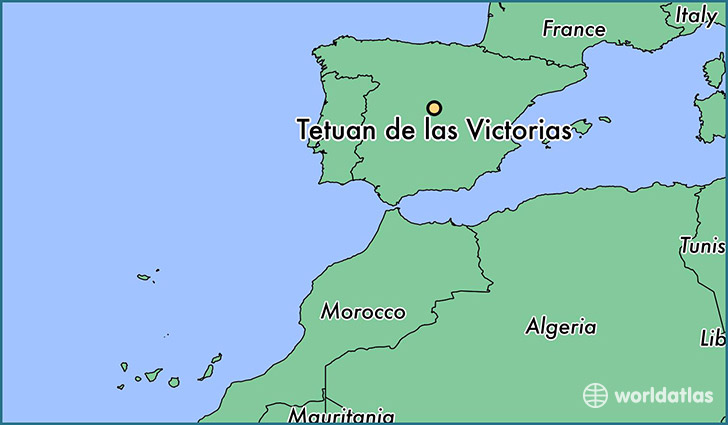 map showing the location of Tetuan de las Victorias
