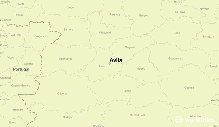 map showing the location of Avila