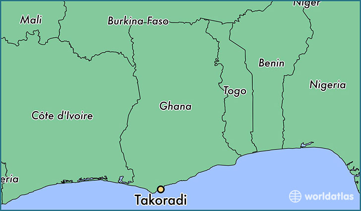 map showing the location of Takoradi
