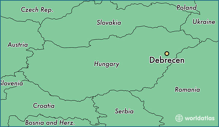 map showing the location of Debrecen