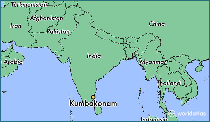 map showing the location of Kumbakonam