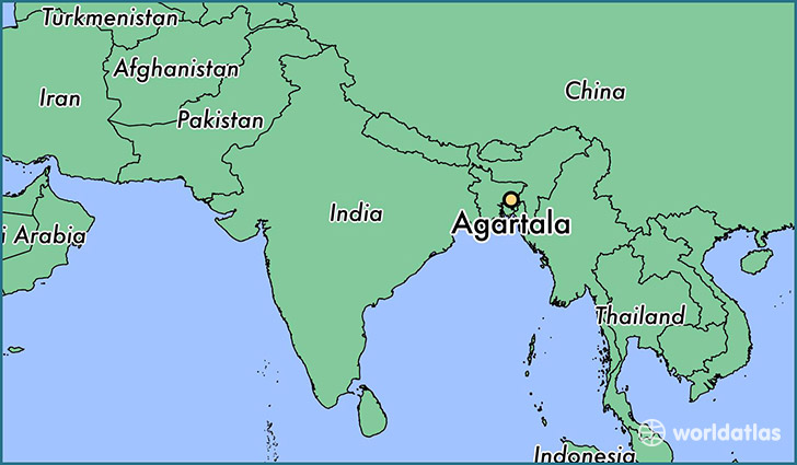 map showing the location of Agartala
