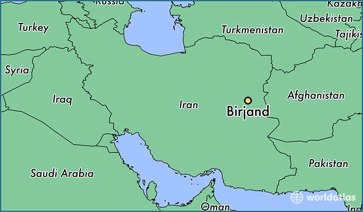 map showing the location of Birjand