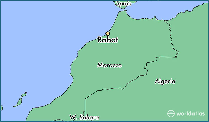 map showing the location of Rabat