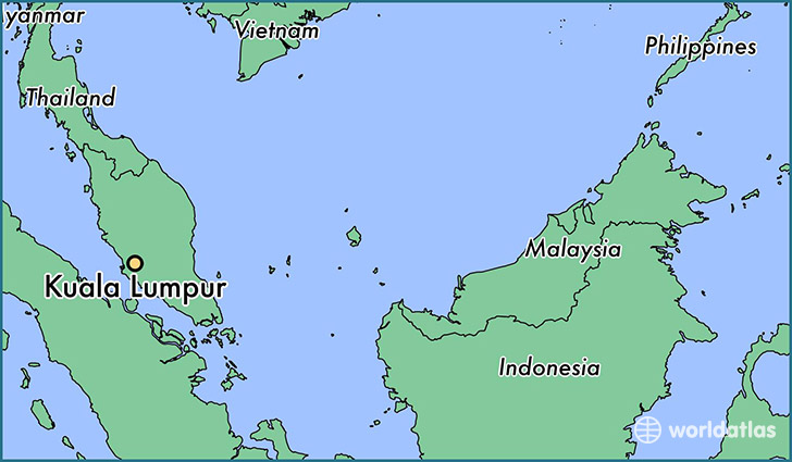 map showing the location of Kuala Lumpur
