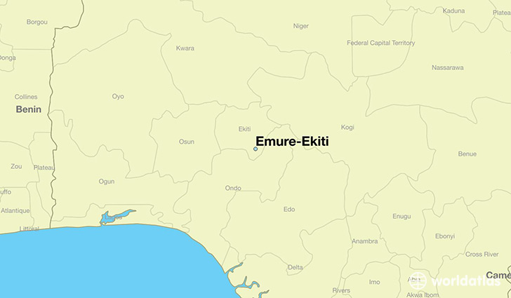 map showing the location of Emure-Ekiti
