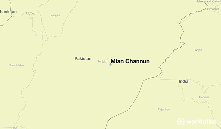 map showing the location of Mian Channun