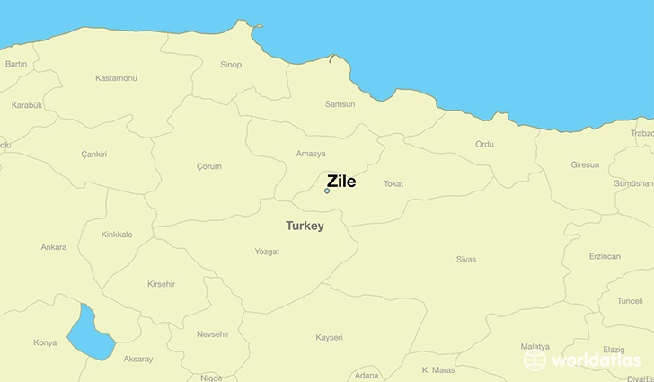 map showing the location of Zile