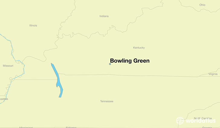 map showing the location of Bowling Green