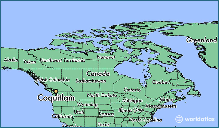 map showing the location of Coquitlam