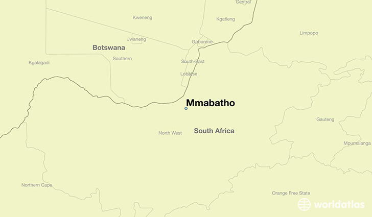 map showing the location of Mmabatho
