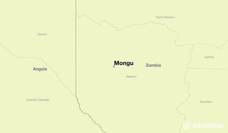 map showing the location of Mongu