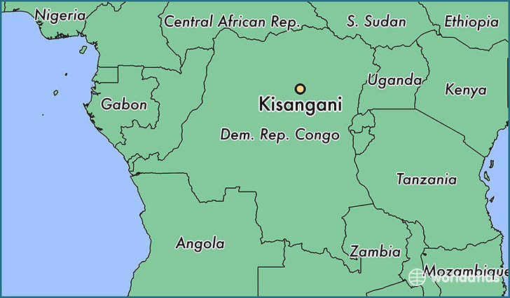 map showing the location of Kisangani