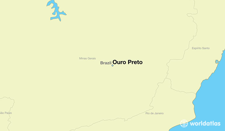 map showing the location of Ouro Preto