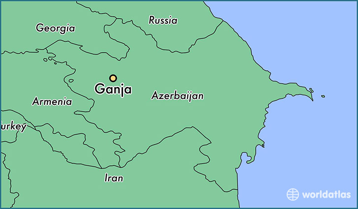 map showing the location of Ganja